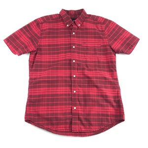 Hurley Mens Red Plaid Button Front Shirt